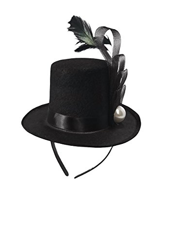 Black Mini Top Hat Fascinator On Headband Feather Pearl Stud Dancers Showgirl ()