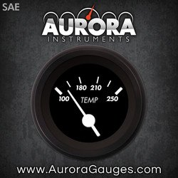 White Vintage Needles, Black Trim Rings, Style Kit Installed Aurora Instruments 1181 Marker Black SAE Water Temperature Gauge