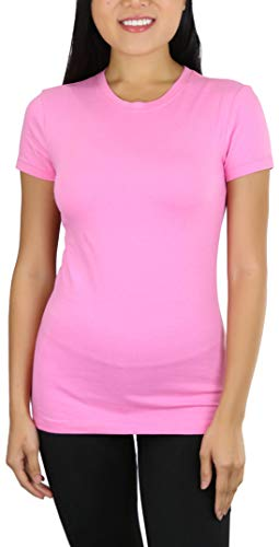 ToBeInStyle Women's Slim Fit Crew Neck S.S. Longline Tee - Candy Pink - Large