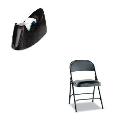 KITALEFC94VY10BUNV15001 - Value Kit - Best Steel Folding Chair w/Padded Seat (ALEFC94VY10B) and Universal Desktop Tape Dispenser (UNV15001) by Best