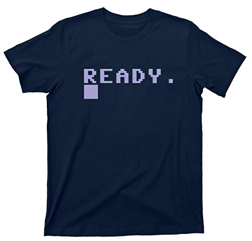 Commodore 64 Ready BASIC prompt T-shirt, royal or navy