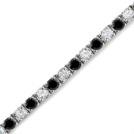 5 CT White & Black Diamond Bracelet 14K White Gold