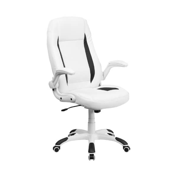 Flash Furniture High Back White Leather Executive Swivel Chair with Flip-Up Arms