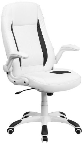 office chair white leather. Flash Furniture High Back White Leather Ebyecutive Office Chair With Flip-Up Arms S