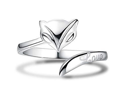 - JOYID Love Fox Open Ring Adjustable Animal Fox Tail Finger Ring for Women Girls