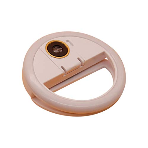 Clip on Selfie Ring Light USB Rechargeable External HD Lens 3 Light Effects with 36 LED Lamp Beads for Smart Phone Camera Round Shape (White)