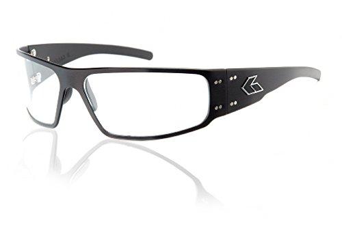 Gatorz Eyewear, Magnum Model, Aluminum Frame Sunglasses - Black/Clear Lens ()