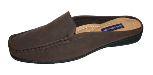 Ladies Shoreside Faux Nubuck Leather Slip on Mule Loafer Shoes Sizes 4 - 8 Brown QJizEsn