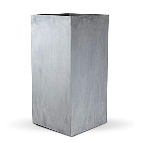 Vase Source Tall Gray Square Flower Pot Stand - Elegant Sleek Fiberglass Planter Pot 31