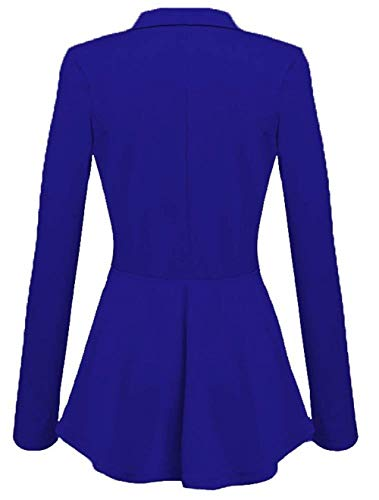 Giacche Ufficio Lunga Cappotto Giacca Slim Da Button Puro Blau Manica Pieghe Moda Di Primaverile Tailleur Colore Casual Marca Donna Blazer Mode Fit Con Bavero Business Autunno Eleganti 4paYqY