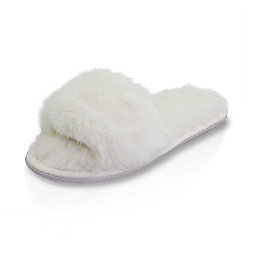 LA PLAGE Womens Winter Plush Soft Warm Indoor Flat Slippers