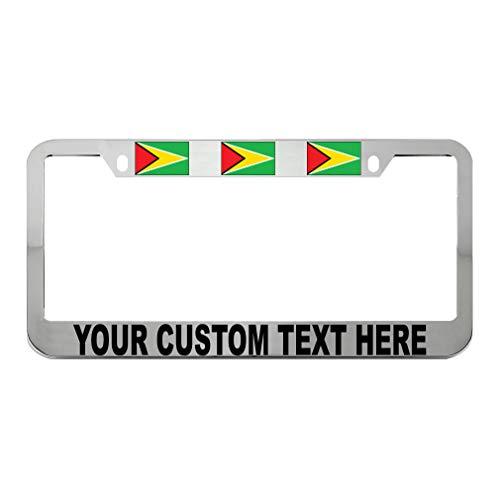Speedy Pros Custom Text Personlized Guyana Country Flag Zinc Metal License Plate Frame Car Auto Tag Holder - Chrome 2 Holes ()
