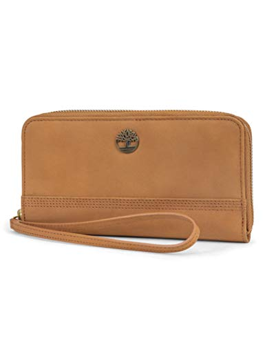 Timberland womens Leather RFID Zip Around Wallet Clutch with Wristlet Strap, Wheat (Nubuck),One Size