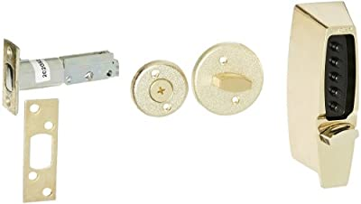 Kaba Simplex 7100 Series Metal Mechanical Pushbutton Auxiliary Lock with Thumbturn, 25mm Tubular Deadbolt, Flat Front Face Plate, 70mm Backset, Bright Brass Finish