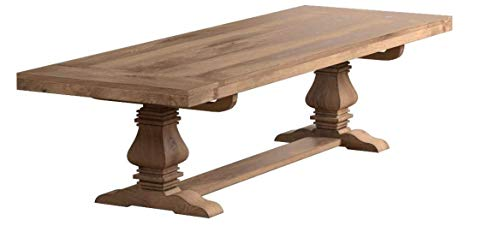 Florence Rectangular Double Pedestal Dining Table Rustic Smoke (Round Dining Table With Leaf Seats 8)