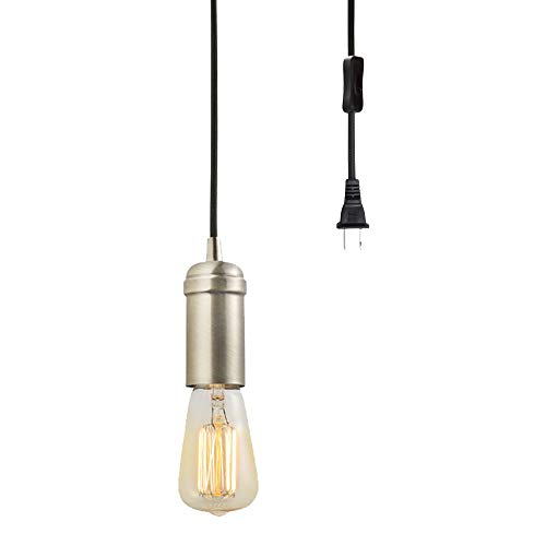 Globe Electric Edison 1-Light Plug-In Pendant, Antique Brass, Black Woven Fabric Cord, In-Line On/Off Rocker Switch 65116