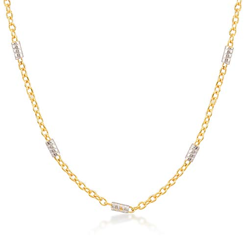(Gelin 14k Gold 1.0 mm Two Tone Cable Bar Chain for Women and Men,18