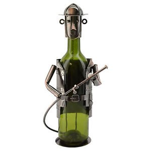 WineBodies Firefighter High Quality in Bronze Metal Wine Bottle Holder