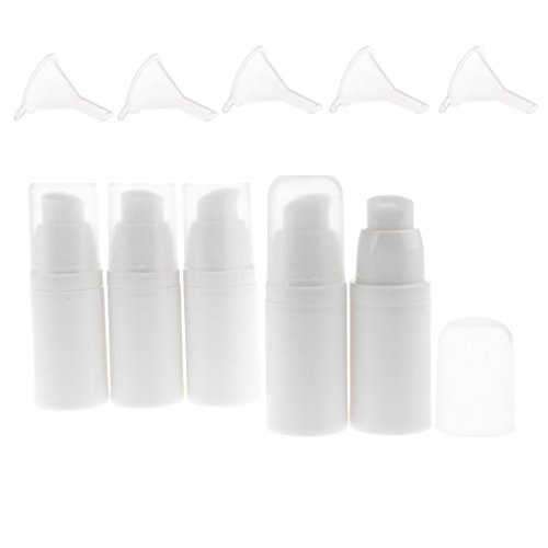 Cream Pump Pack - Dovewill 5pcs/pack Airless Pump Bottle Empty Vacuum for Refillable Container Cosmetic Cream Lotion Serum Liquid 0.5oz 15ml With 5 Funnels