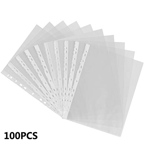 2 X Tiger 100 x A4 GLASS CLEAR PLASTIC WALLETS Strong Poly Punched Pocket Document Paper Filing Sleeves