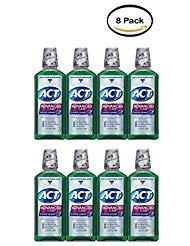 PACK OF 8 - ACT Advanced Care Plaque Guard Antigingivitis/Antiplaque Mouthwash, Clean Mint, 18 Oz