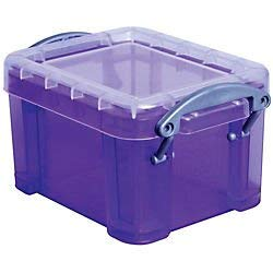 Really Useful Boxes(R) Plastic Storage Box, 0.14 Liter, 2in.H x 2 1/2in.W x 3 1/4in.D, Purple