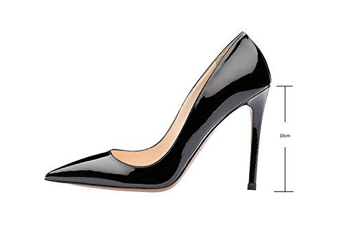 fashion Charol Altos de Mujer de black mujer Tacones Tacones Heel ElegantesSalvaje y Ruanlei Sexy elegante Tacones Clásicas Cerrado alta Altos de Shoes fat0wxt7