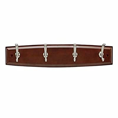 Hickory Hardware C25006-CSSN 18 Inch Wood Four Coat Hook Rack, Cherry Satin/Satin Nickel Finish