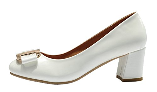 INDEX Women's Simple Rough Heels Butterfly Knot Thin Shoes (7.5 B(M) US, White)