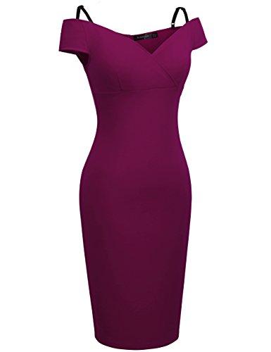 Homeyee de las mujeres Vintage Floral Impresión Apagado Hombro Tiras en forma de longitud de la rodilla Bodycon lápiz vestido B309 Carmín