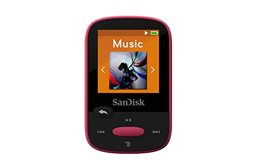 SanDisk 8GB Clip Sport MP3 Player, Pink - LCD Screen and FM Radio - SDMX24-008G-G46P (Renewed)