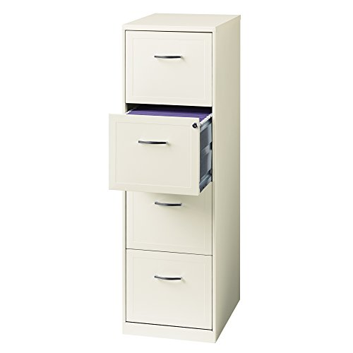 "Space Solutions 18"" 4-Drawer Metal File Cabinet, White (21619)"