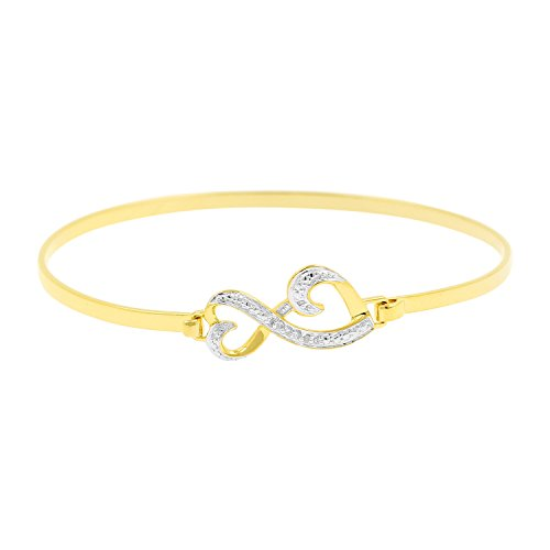 Diamond Accent Double Heart Infinity Style Bangle Bracelet in Yellow Gold Over 925 Silver