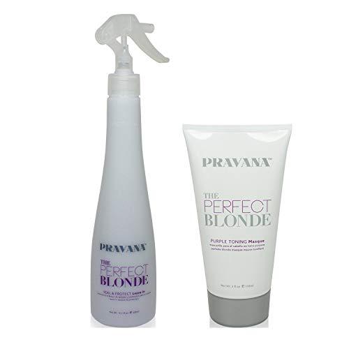 Bundle-2 Items : PRAVANA THE PERFECT BLONDE Purple Toning Masque, 5 Oz & PRAVANA THE PERFECT BLONDE Seal & Protect Leave-in, 10.1 Oz (Best Purple Hair Spray)