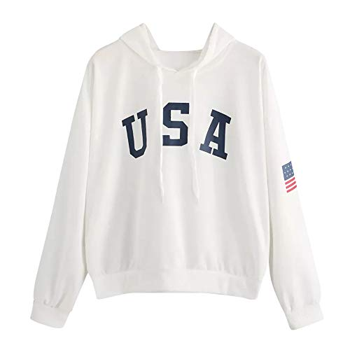 - HIRIRI Women's American Flag Print Shirt Long Sleeve Drawstring Hoodies Casual Hooded Blouses Tops White