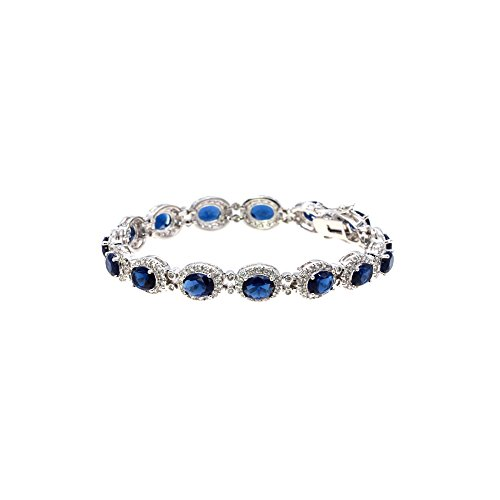 Oval AAA CZ Sapphire Bracelet Tennis Bridal Wedding Party Jewelry For Woman (Blue)