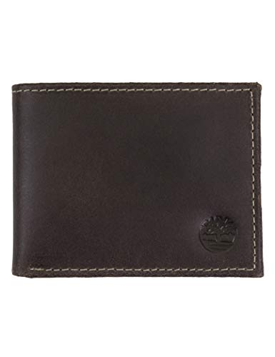 Timberland Men's Blix Slimfold Leather Wallet, Dark Brown, One Size