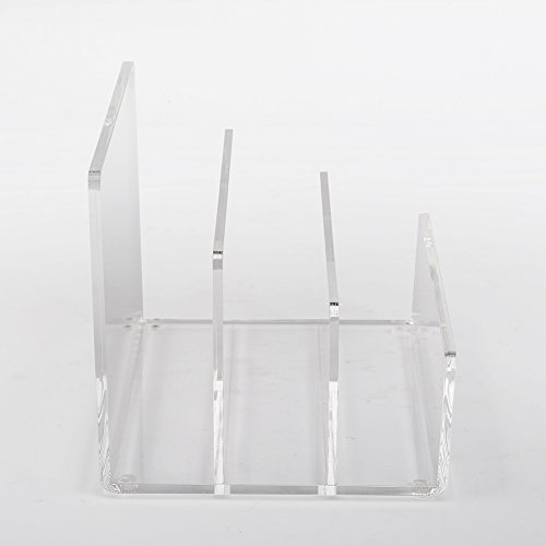 Crystal Clear Acrylic Desktop File Sorter Holder - Lucite Mail, Paper, File Folder Organizer – Eyeshadow, Makeup Palette and Electronics Organizer - Thick Cast Acrylic - Unum - 9