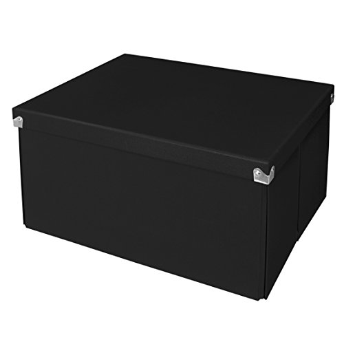 Samsill PNS06LSBK Pop n' Store Decorative Storage Box with Lid - Collapsible and Stackable - Large Mega Box - Black - Interior Size (14.625