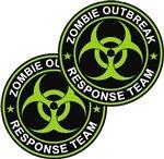 "KustomSkinz Stickers 2-3"" Zombie Outbreak Response Team Decal Neon Green"