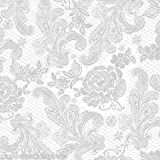Paperproducts Design 1251108 Beverage/Cocktail Embossed Lace Royal Elegant Paper Napkin, 5 by 5-Inch, Pearl/Gold