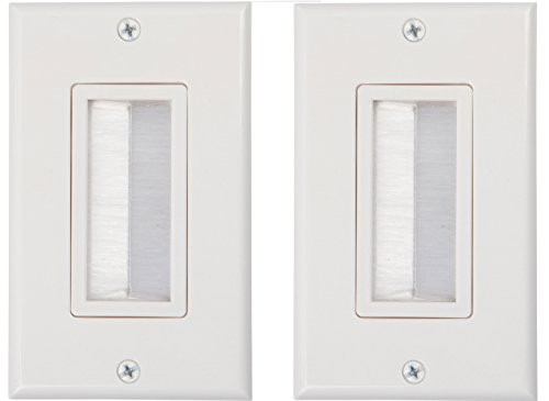 Buyer's Point Brush Wall Plate, Decora Style, Cable Pass Through Insert for Wires, Single Gang Cable Access Strap, Wall Socket Plug Port for HDTV, HDMI, Home Theater Systems and More ((2 Pack) White) (Style Plate Wall)