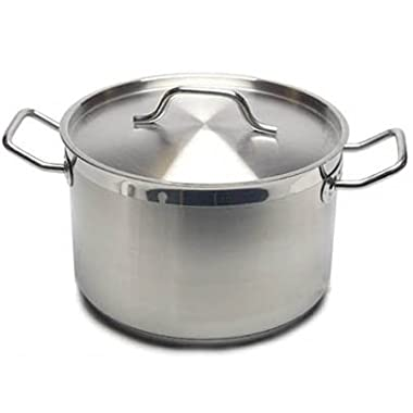 New Professional Commercial Grade 12 QT (Quart) Heavy-Gauge Stainless Steel Stock Pot, 3-Ply Clad Base, Induction Ready, With Lid Cover NSF Certified Item