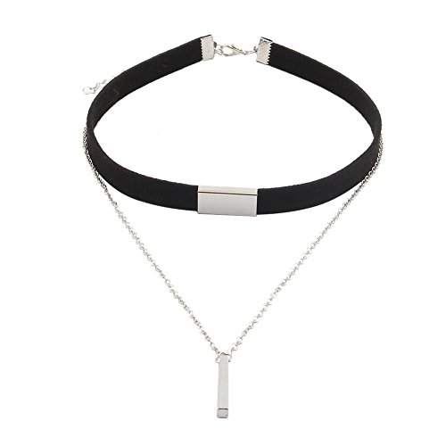 Double Layered Choker Necklace Leather