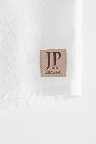 JP 1880 Herren große Größen bis 7 XL | Leinen Hemd | Shirt aus 100 % Leinen | Modern Fit | Halbarm & Casual-Kentkragen | Brusttasche, Schmaler Schnitt & Tailliert | weiß 6XL 703647 20-6XL