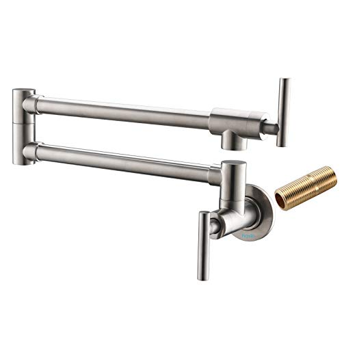 Filler Pot Wall Mount - Havin A203 Pot Filler Faucet Wall Mount,Brushed Nickel,With Double Joint Swing Arms,Single Hole Two Handles (Pot filler Style A-Brushed Nickel)