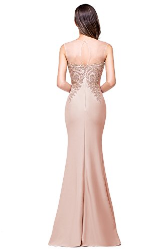 Women Dress Nude Dress Pink Prom for Formal Babyonline Lace Mermaid Long Appliques Evening TqvRRI