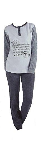 pigiama donna caldo cotone il mitico di IRGE con polsini art. MI86 new collection Panna