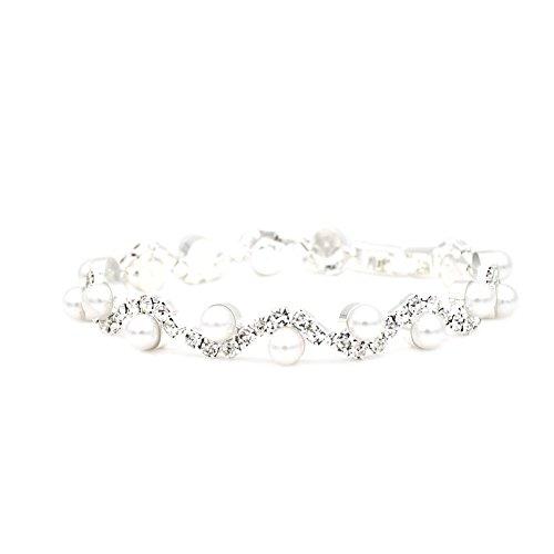 JSEA Womens 4mm Faux Pearl Wave Link Bracelet Silver Tone Rhinestone Bracelets -