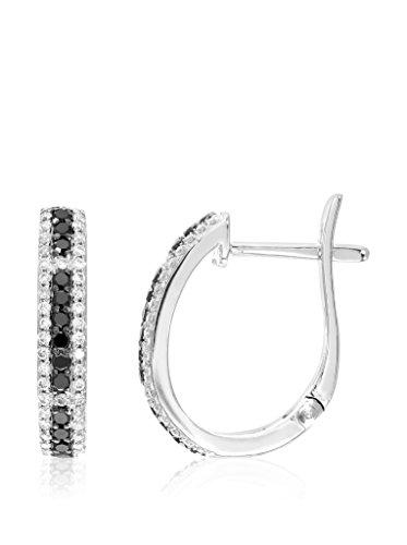Revoni Bague en or blanc 9carats-Boucles d'Oreilles Créoles Femme-Diamant 0,47carats Noir et Blanc